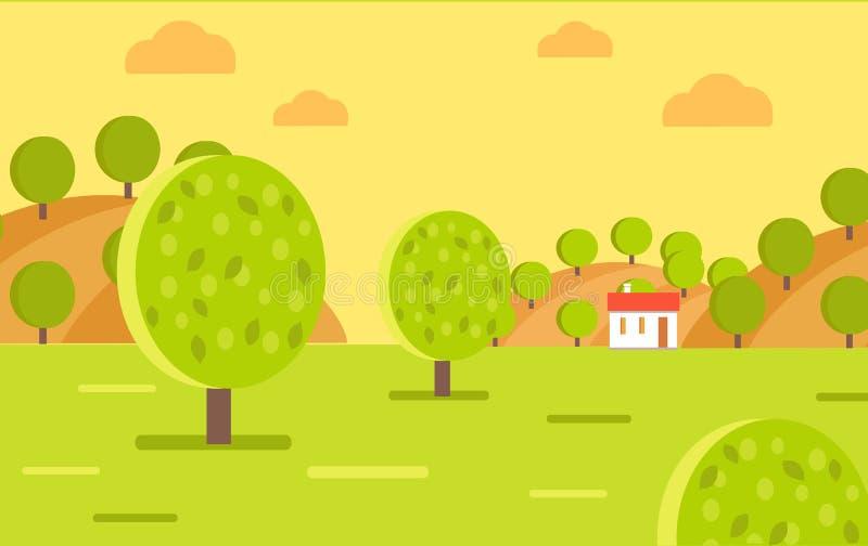Wioska ogródu lub owoc gospodarstwa rolnego krajobrazu wektor ilustracji