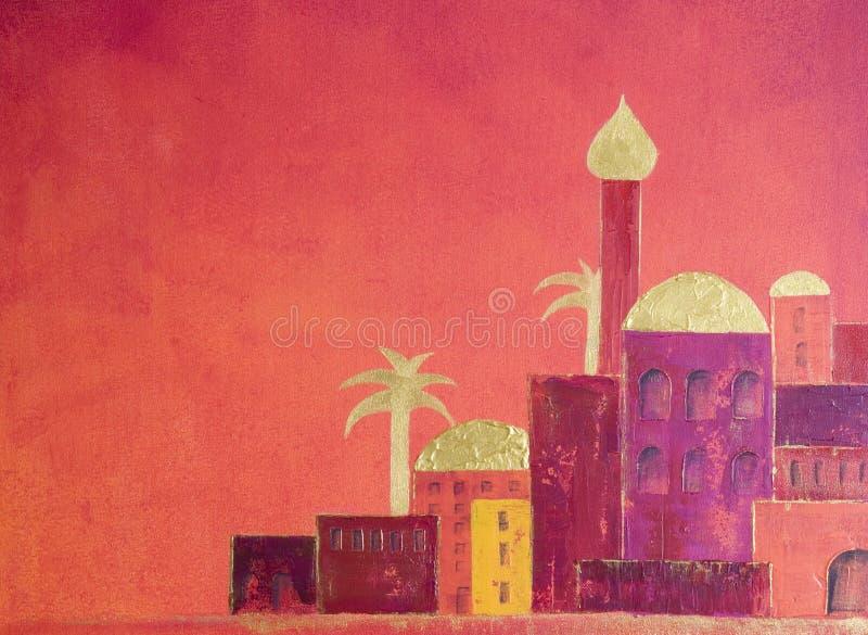 wioska orientalna ilustracji