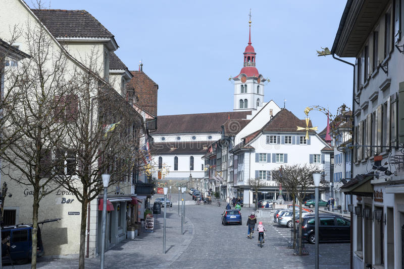 Wioska Sursee na Szwajcaria fotografia stock