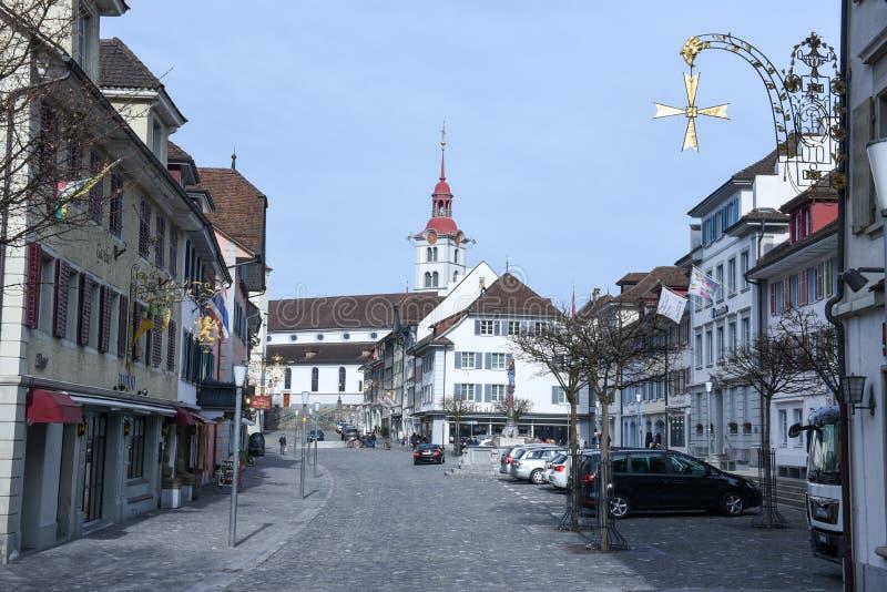 Wioska Sursee na Szwajcaria obrazy stock