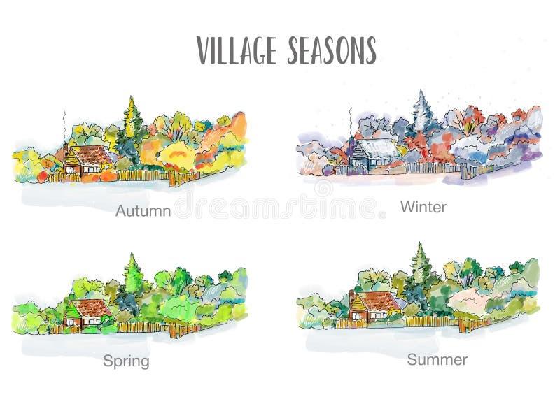 Wioska w cztery sezonów ilustraci, szkicowy projekt ilustracji