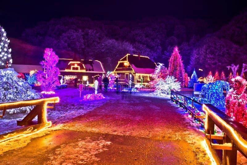 Wioska w kolorowych bożonarodzeniowe światła zdjęcia royalty free