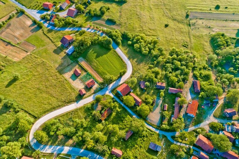 Wioska w wiejskim Chorwacja widok z lotu ptaka obrazy royalty free