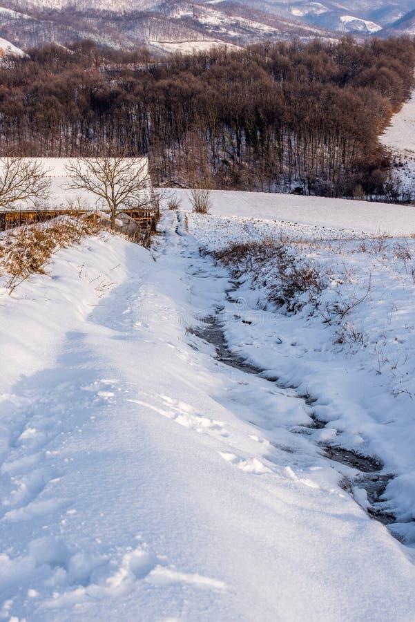 Wioski droga w zimie obraz royalty free