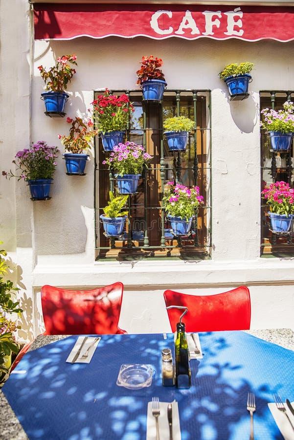 Wioski kawiarnia w wiosna sezonie obrazy royalty free