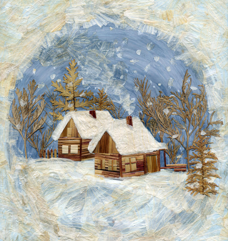 wioski podaniowa zima royalty ilustracja