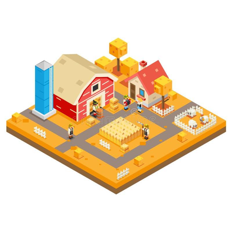 Wioski rolnictwa gospodarstwa rolnego Domowego budynku sezonu Wiejskiej jesieni 3d Lowpoly Isometric ikona Real Estate Uprawia og ilustracja wektor
