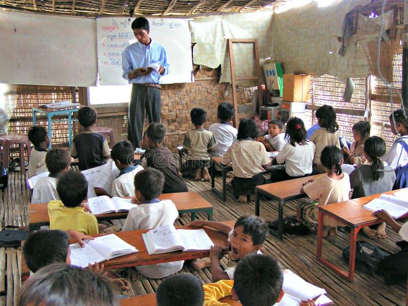 Wioski sala lekcyjna - Kambodża obraz royalty free
