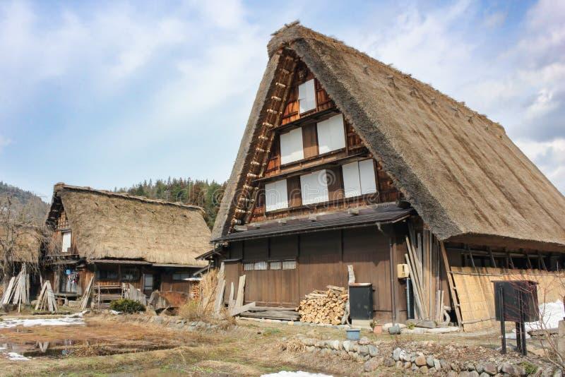 Wioski shirakawago przy Japan na zimie obraz royalty free