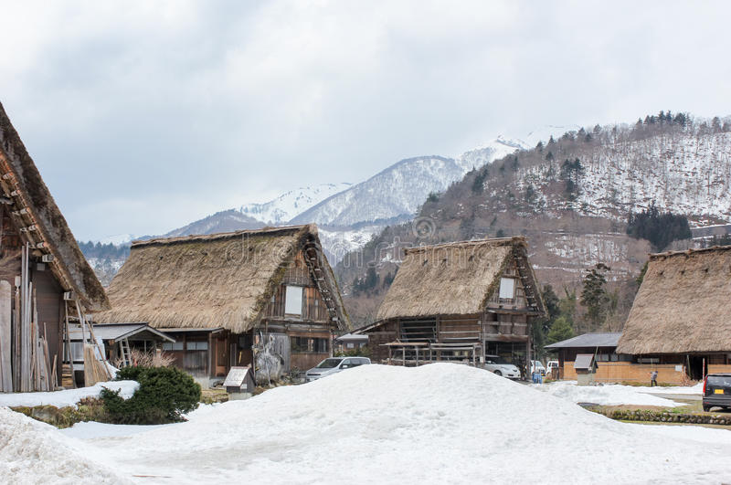 Wioski shirakawago przy Japan na zimie fotografia royalty free