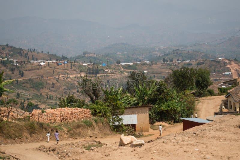 Wioski z wzgórze widokami, Rwanda obraz royalty free