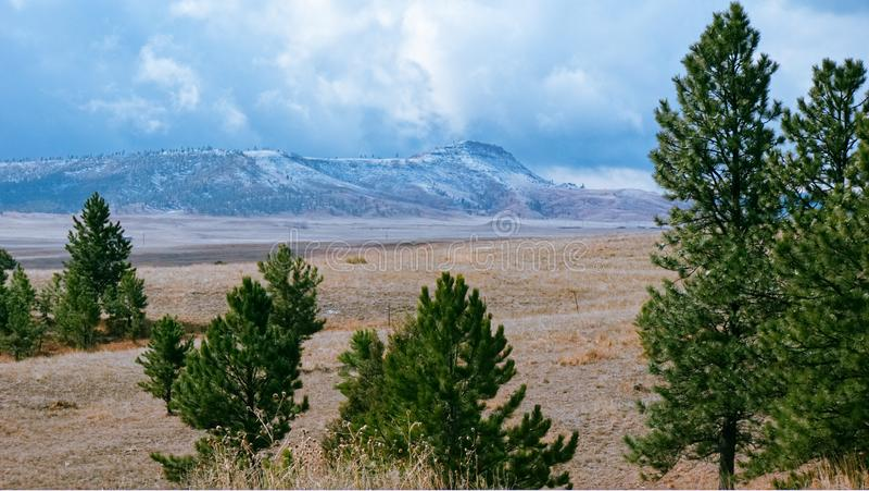 Wiosna śniegi w Czarnych wzgórzach zdjęcie stock