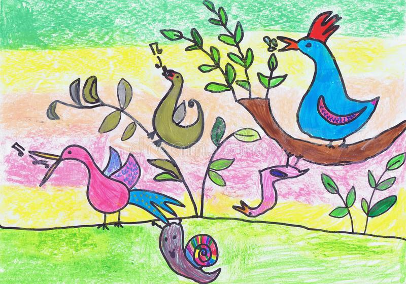 Wiosna śpiew ptaki Dziecka ` s rysunek ilustracja wektor