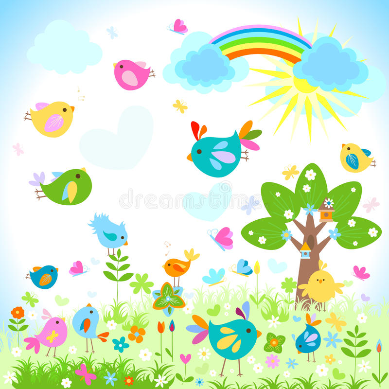 Download Wiosna ilustracja wektor. Obraz złożonej z śliczny, ptaki - 28987620