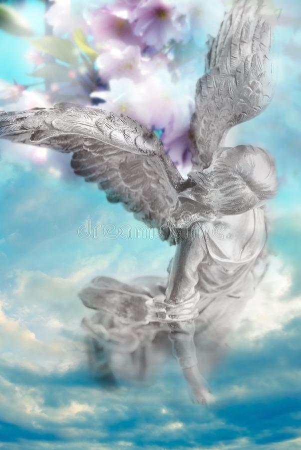 Wiosna anioła archanioł natura z kwiatu tłem jak boski natury pojęcie ilustracji