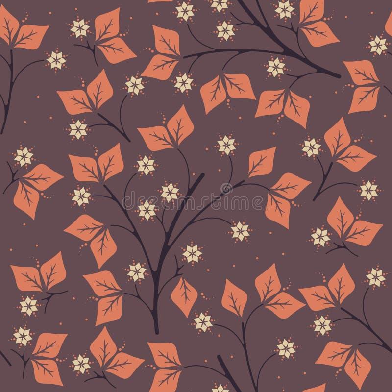 Wiosna bezszwowy wzór z pomarańcze opuszcza i kwitnie na purpurach ilustracja wektor
