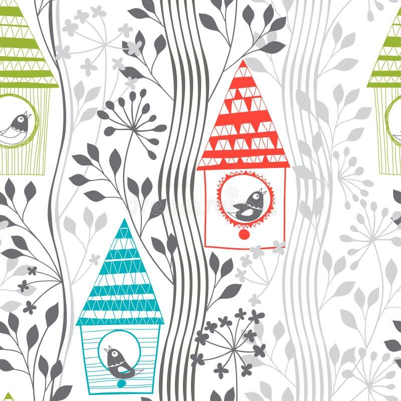 Wiosna bezszwowy wzór z ptakami, kwiatonośny birdhous i drzewa ilustracja wektor