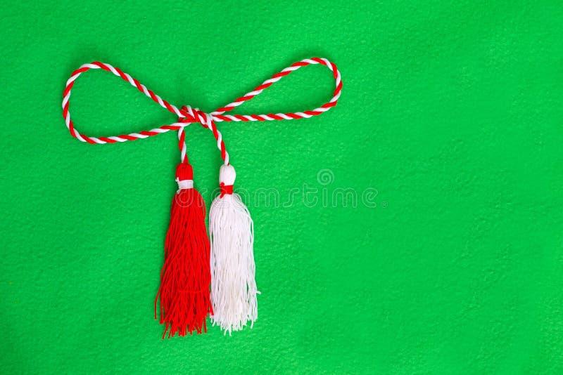 Wiosna bielu i czerwieni sznurek fotografia stock