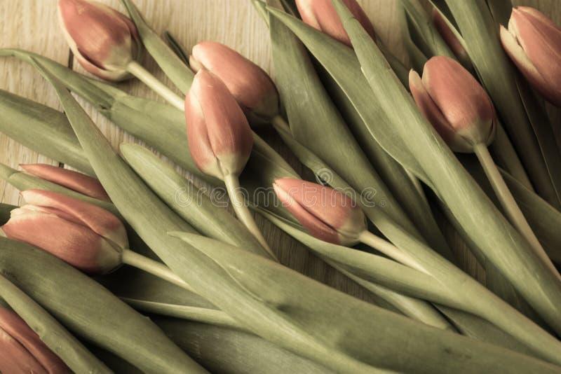 Wiosna bukiet kwiaty różowi tulipany na drewnianym - wizerunek fotografia stock