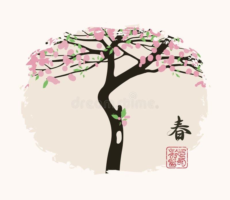 Wiosna chińczyka krajobraz z kwiatonośnym drzewem royalty ilustracja