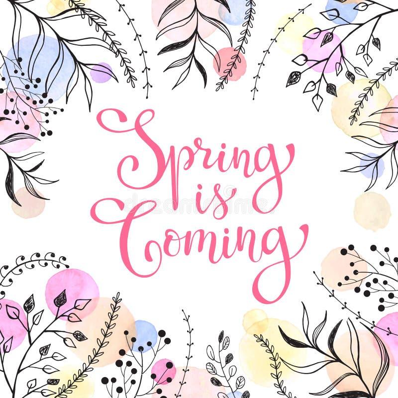 Wiosna czasu karta ilustracji