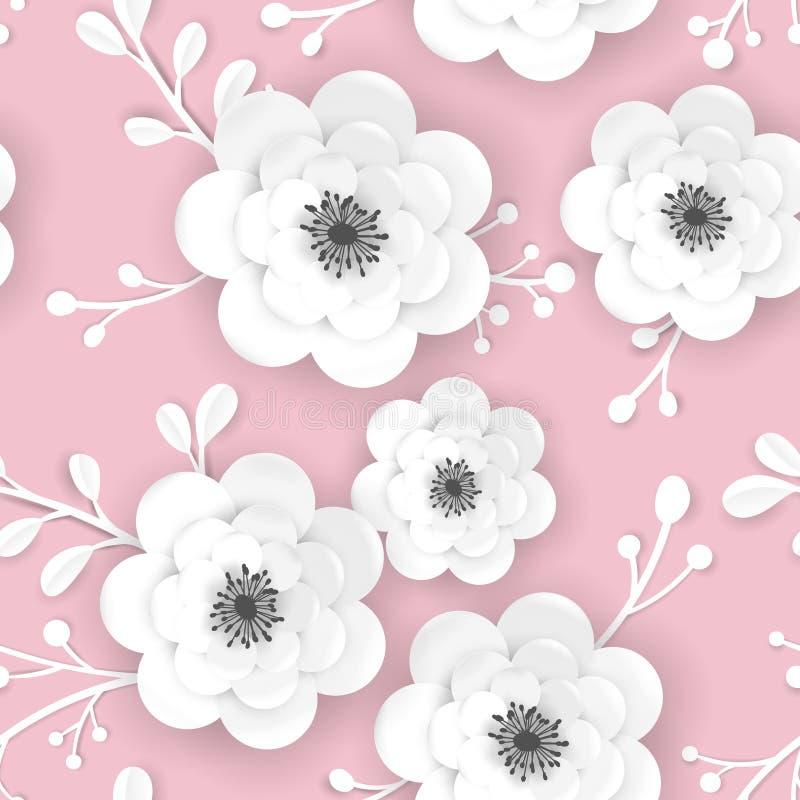 Wiosna czasu Kwiecisty t?o z 3D Papercut Kwitnie Bezszwowy wz?r z Origami papieru kwiatu R?ni?tym projektem dla tkaniny ilustracji