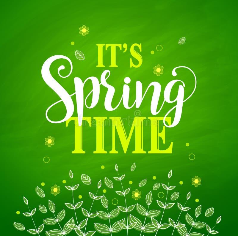 Wiosna czasu sztandaru wektorowy projekt w textured zielonym tle royalty ilustracja