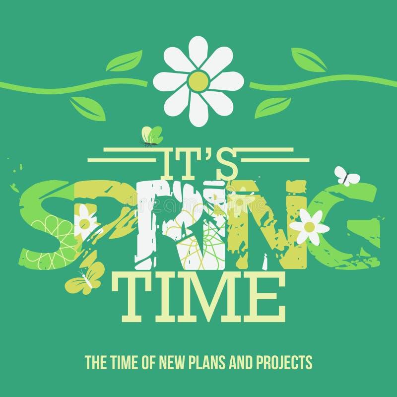 Wiosna czasu typograficzny plakat ilustracja wektor
