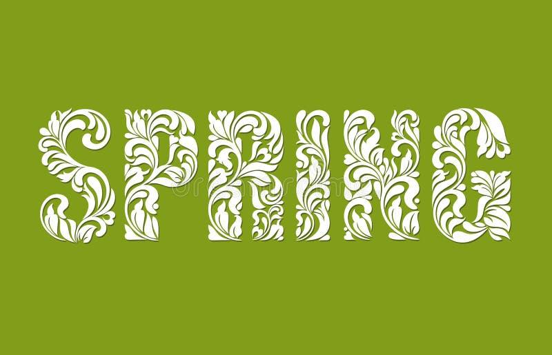 Wiosna Dekoracyjna chrzcielnica robić zawijasy i kwieciści elementy na zielonym tle ilustracja wektor