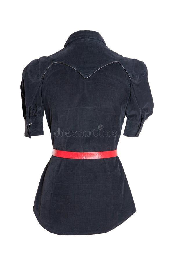 Wiosna i jesieni mody bluzka Elegancka żeńska czarna wiosny bluzka z czerwonym paskiem odizolowywającym na białym tle Kobiety obrazy stock