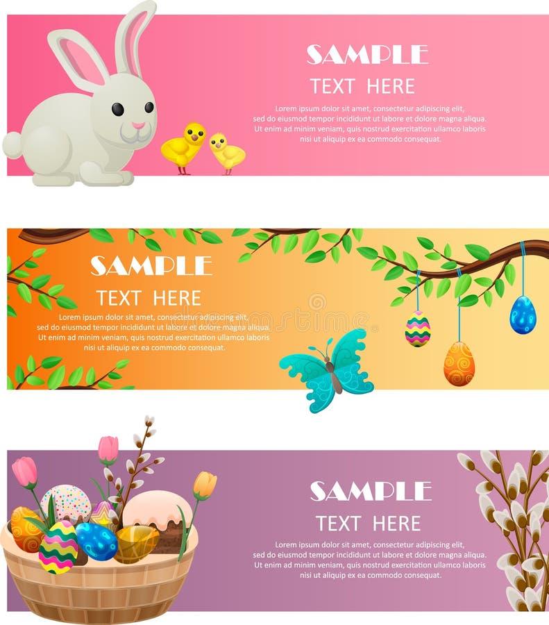 Wiosna i Wielkanocni Świąteczni Wektorowi sieć sztandary Ustawiający ilustracja wektor