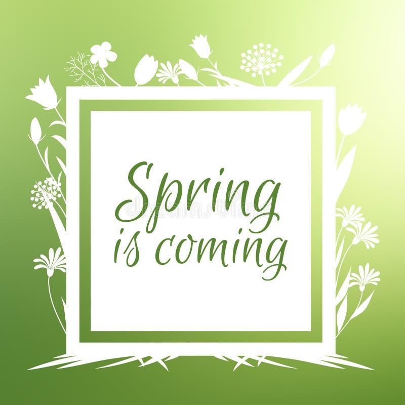 Wiosna jest nadchodzącym sztandarem i wektorowym projektem z kwiatów sihouettes royalty ilustracja