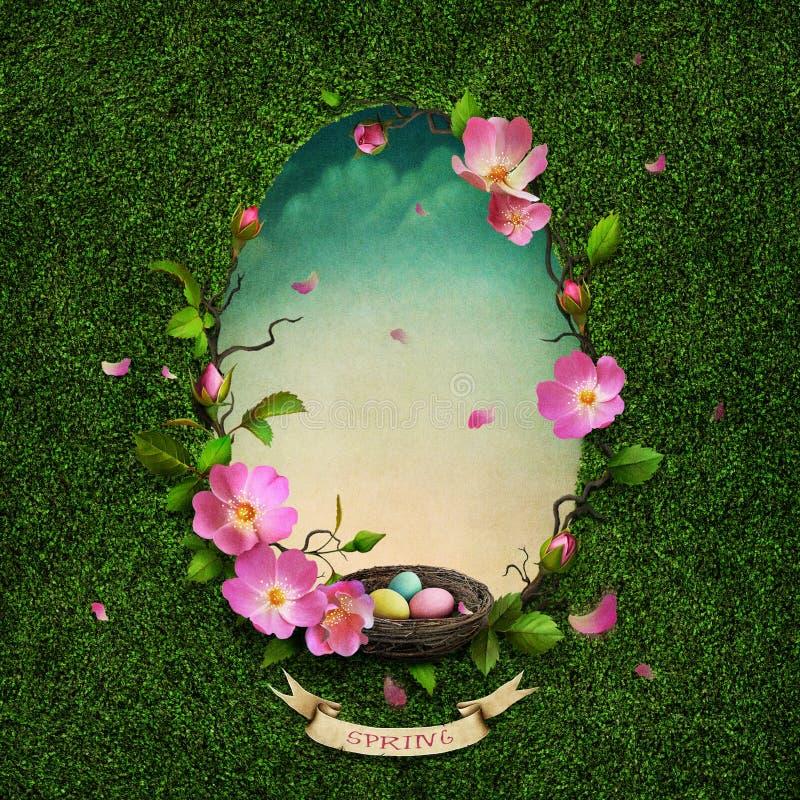 Wiosna kartka z pozdrowieniami ilustracja wektor