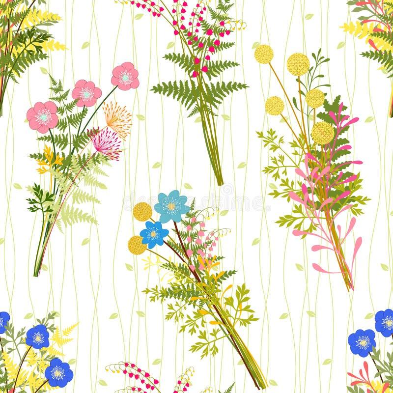Wiosna Kolorowy kwiat z Dzikiej trawy tłem ilustracja wektor