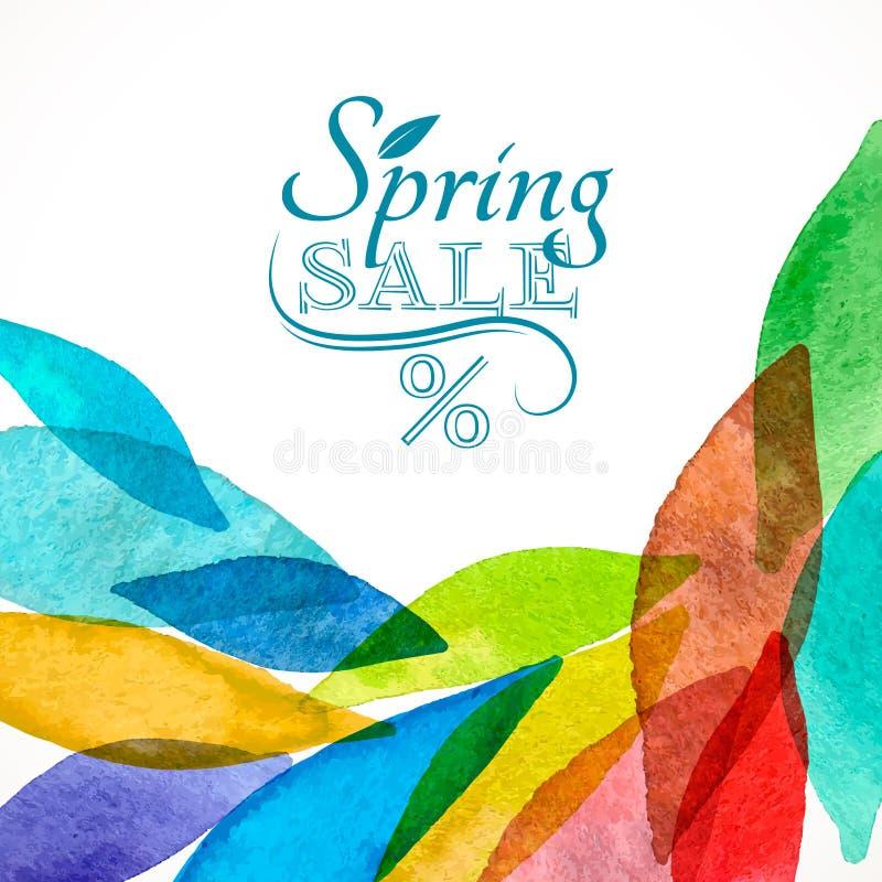 Wiosna koloru sprzedaży akwarela ilustracja wektor