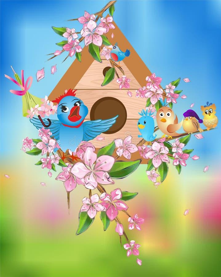 Wiosna koncert ptaki ilustracji