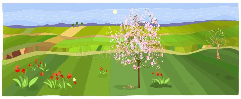 Wiosna krajobraz ilustracji