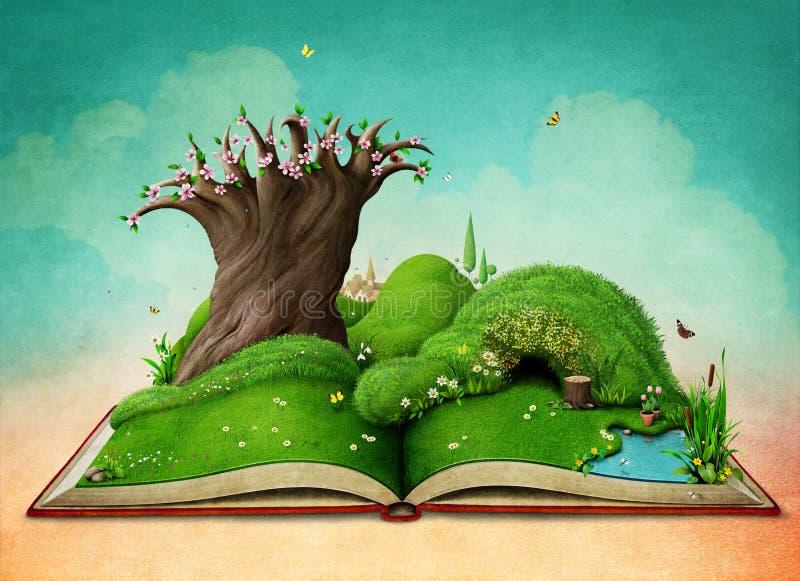 Wiosna krajobraz na książce royalty ilustracja