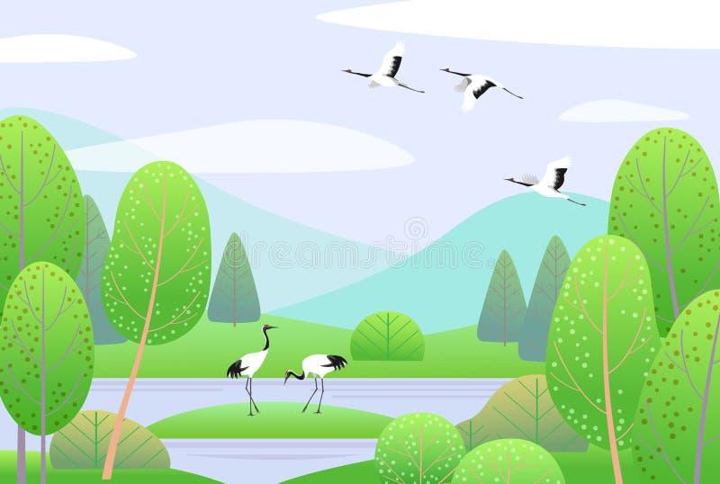 Wiosna krajobraz z Japońskimi żurawiami, górami i drzewami, ilustracja wektor