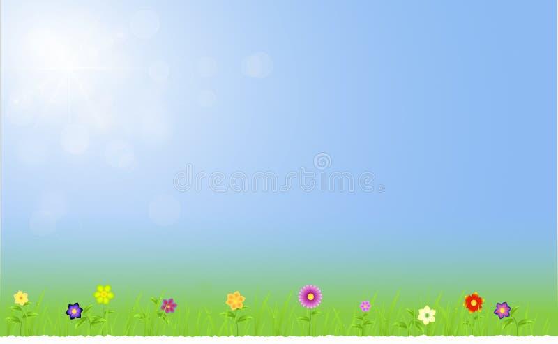 Wiosna krajobraz z niebem z promieniem światła ilustracja wektor