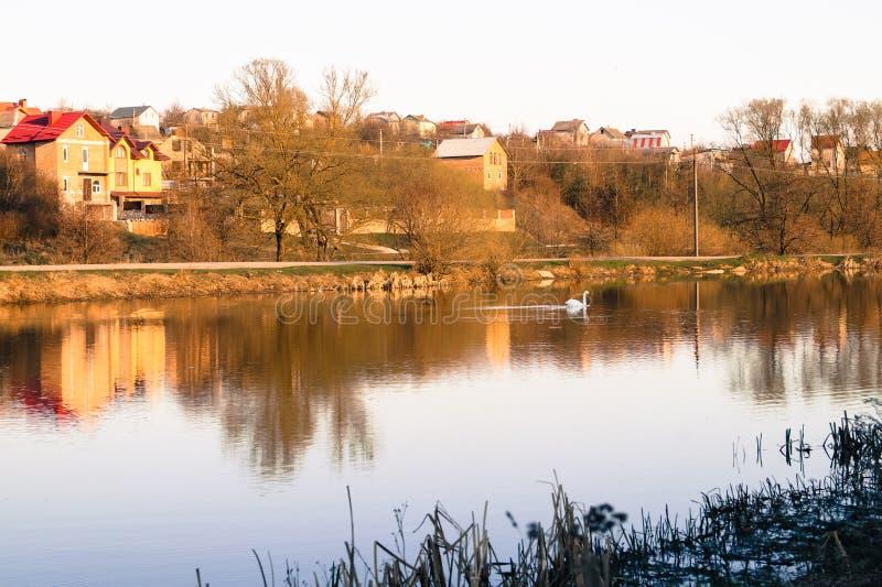 Wiosna krajobrazowa na zewnątrz miasta na jeziorze obudzenie natura zdjęcie royalty free