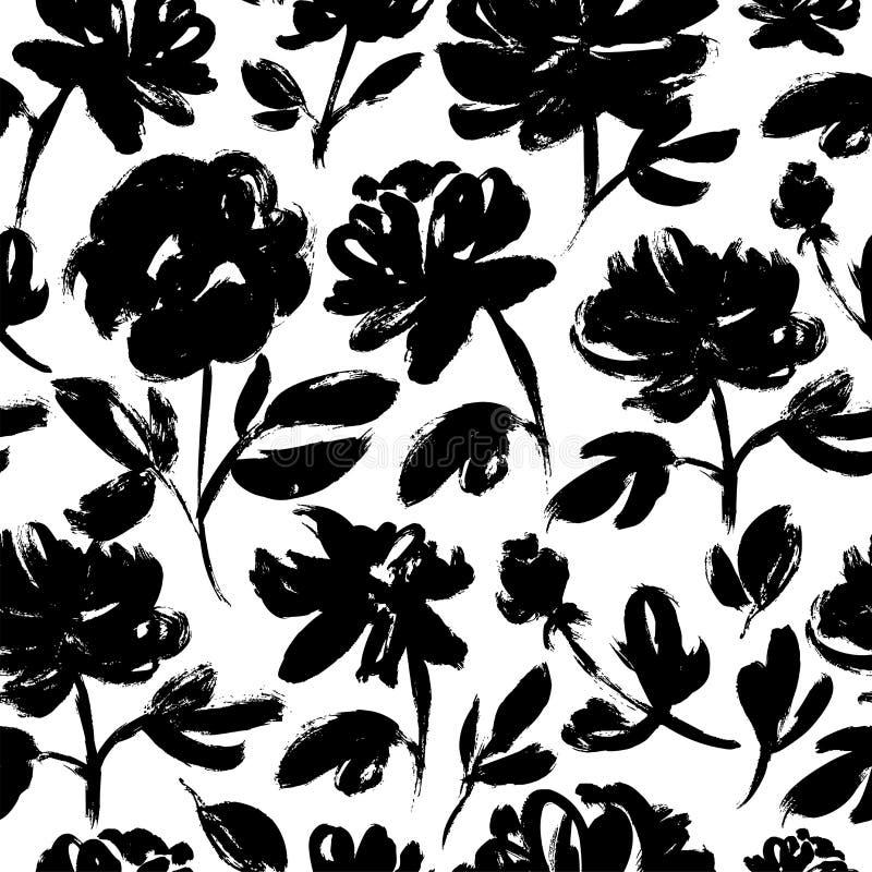 Wiosna kwiatów ręka rysujący bezszwowy wzór Róże, peonie, chryzantem kwitnąć zdjęcie stock