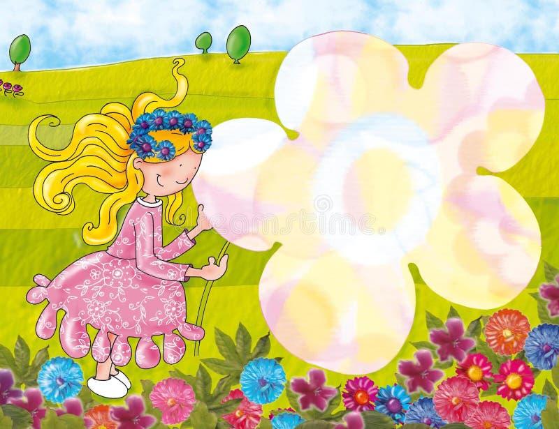 Wiosna kwiatu krajobrazowa dziewczyna trzyma kwiatu ilustracja wektor