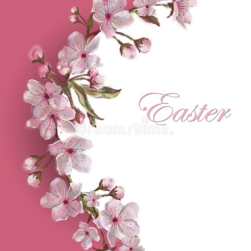 Wiosna kwiatu wianku szablon Tekst kopii przestrzeń Odizolowywająca na bielu Apple, kwiaty/migdału, wiśni/ Wielkanoc, Matkuje ` s ilustracji