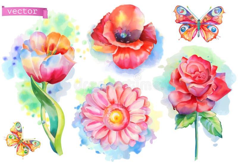 Wiosna kwiaty ustawiający Akwarela wektor royalty ilustracja