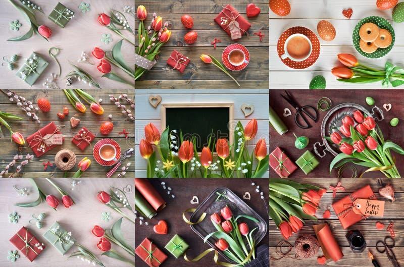 Wiosna kwiaty, Wielkanocne dekoracje, kawa i ciastka, set n zdjęcie stock
