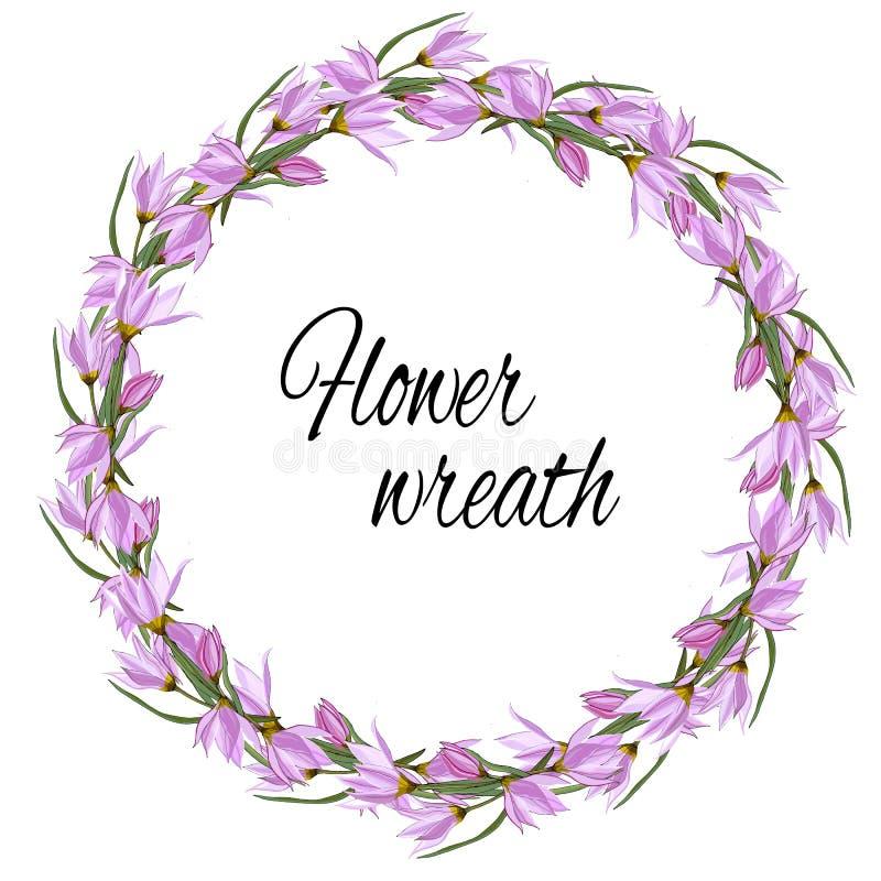 Wiosna kwiecisty wianek delikatne menchie kwitnie dla dekoracji, karty, powitania Wektorowa ilustracja różowi krokusy royalty ilustracja