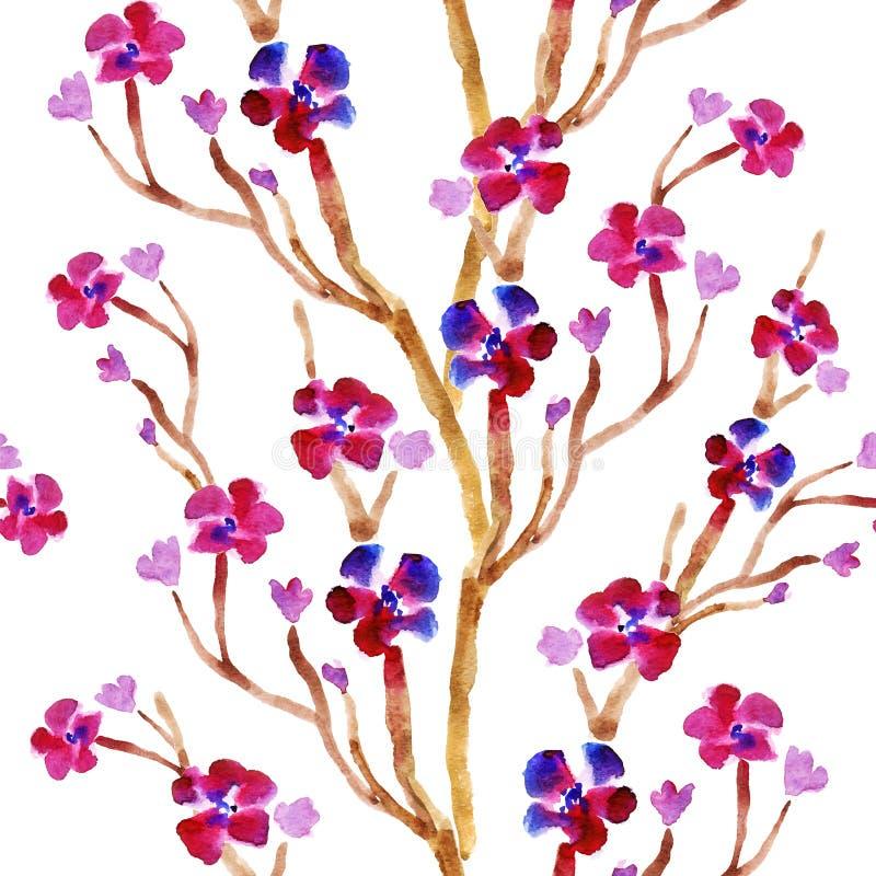Wiosna kwitnie akwareli bezszwowego tło royalty ilustracja