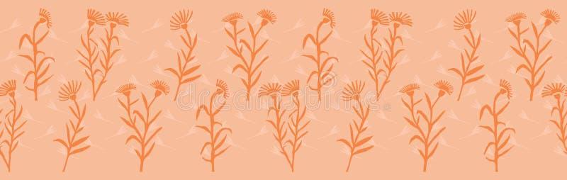 Wiosna Kwitnie Bezszwową wektor granicę Miękcy pastelowi kolory Papieru kolażu Rżnięci kwiaty ilustracja wektor