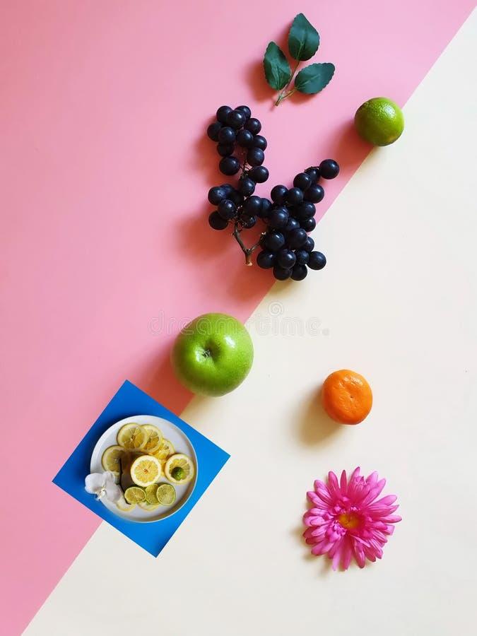 Wiosna Kwitnie Eco owoc weganinu Jabłczanej cytryny gronowego cytrusa na błękita talerza tła pojęcia życia weganinu Eco jed fotografia royalty free
